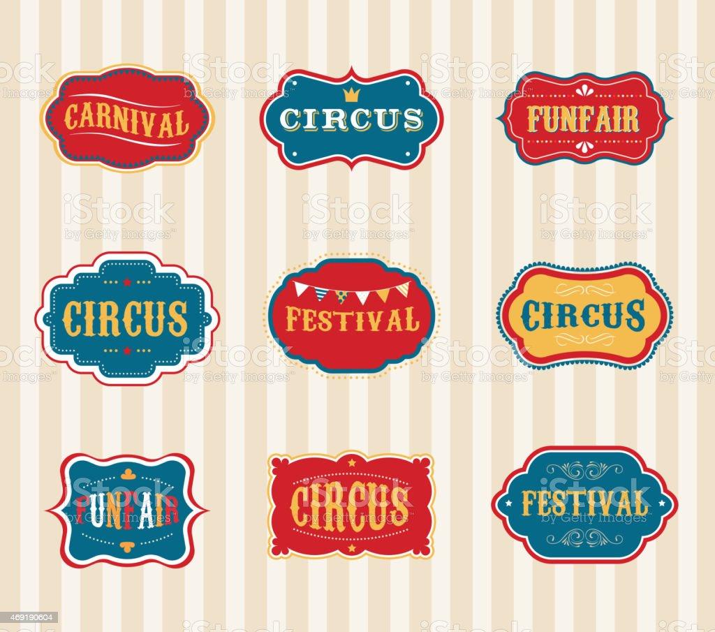 Vintage Circus labels set vector art illustration