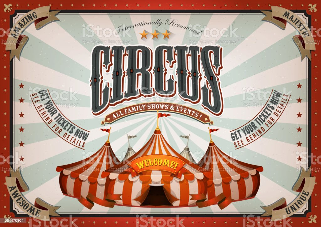 Vintage Circus Poster With Big Top vector art illustration