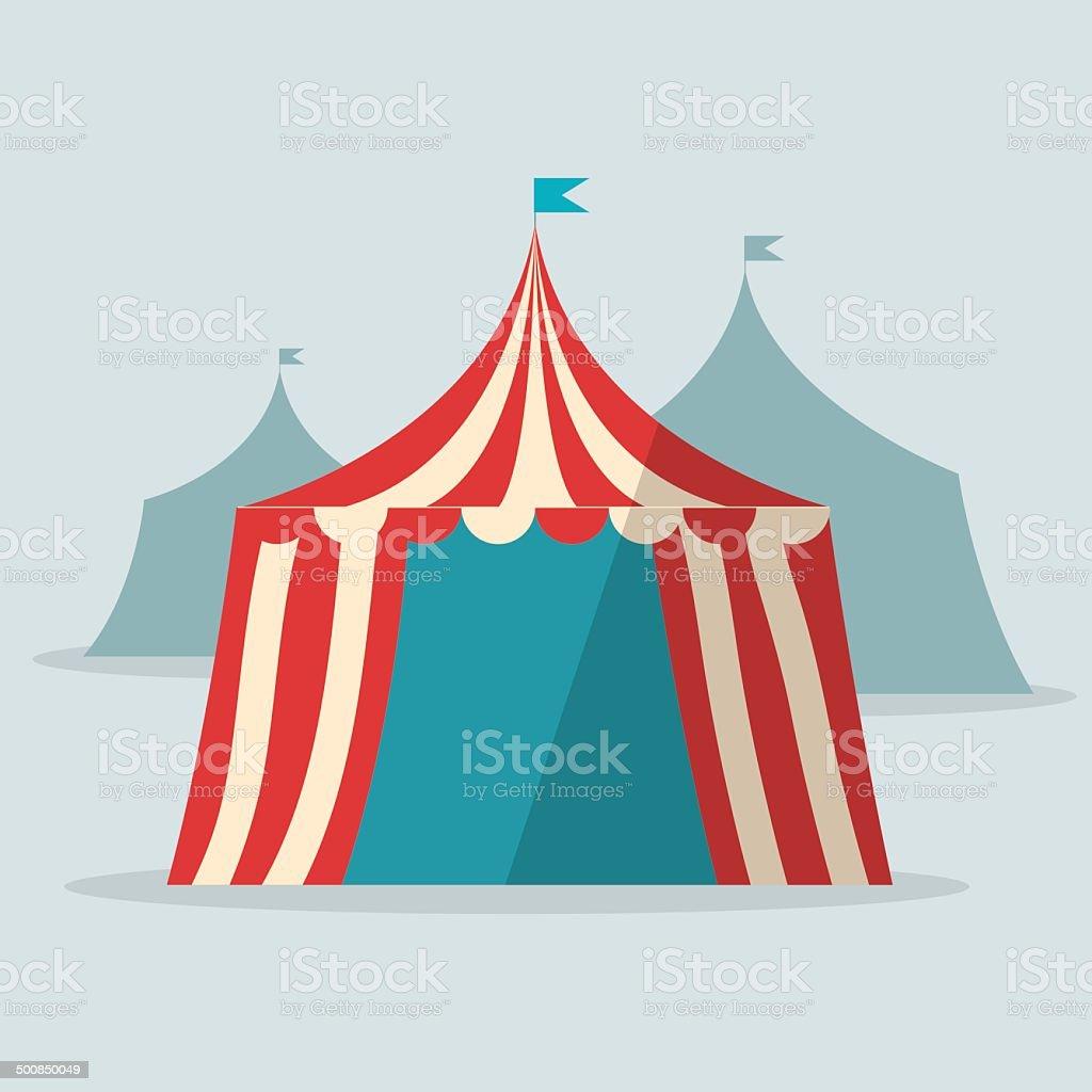Vintage circus tent flat design vector art illustration