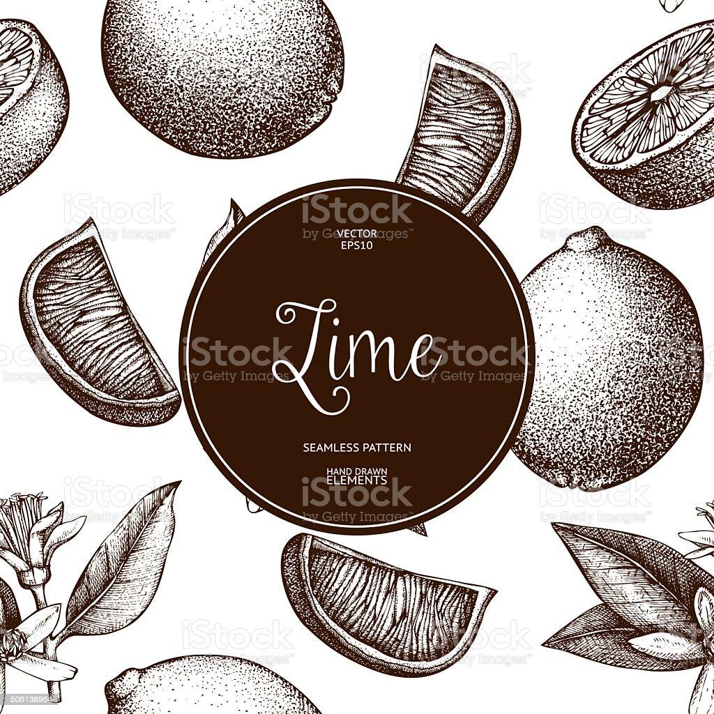 Vintage citrus background isolated on white vector art illustration