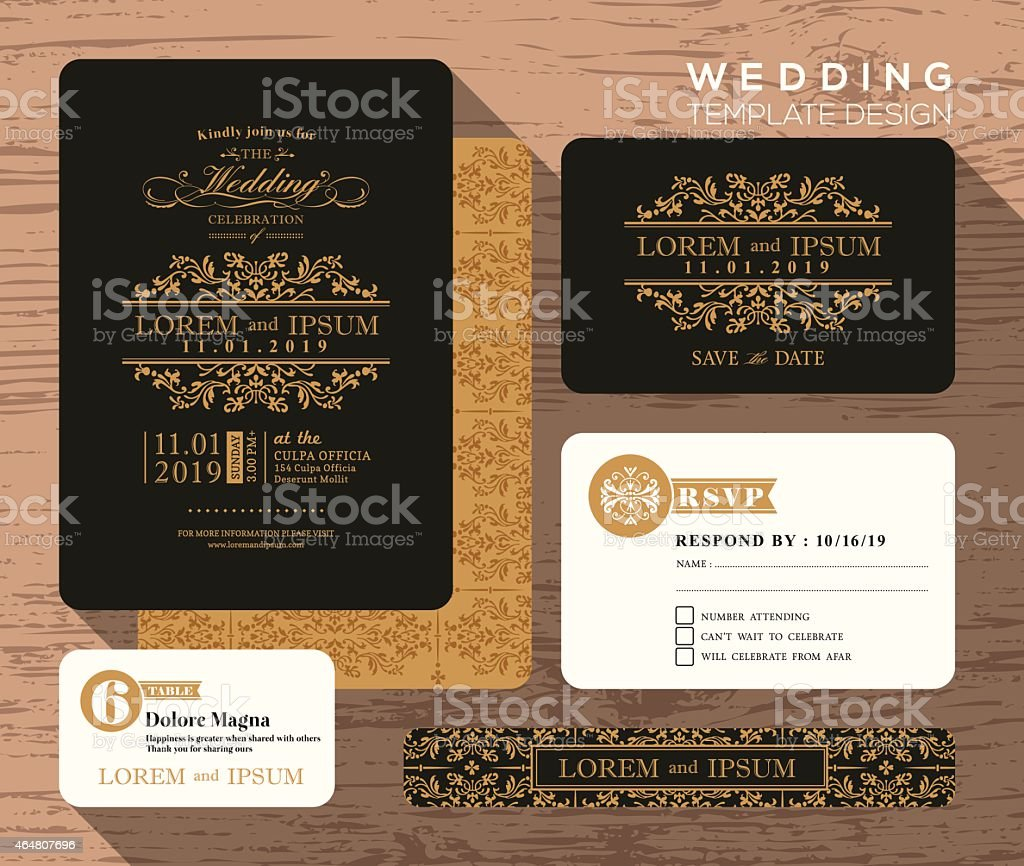 Vintage classic wedding invitation set design Template vector art illustration