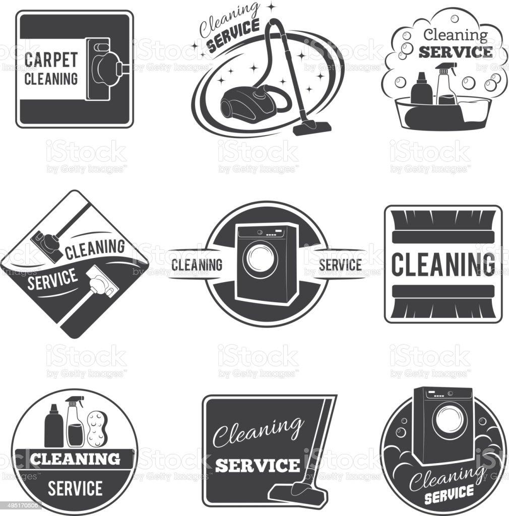 Vintage cleaning service vector logos, emblems, labels set vector art illustration