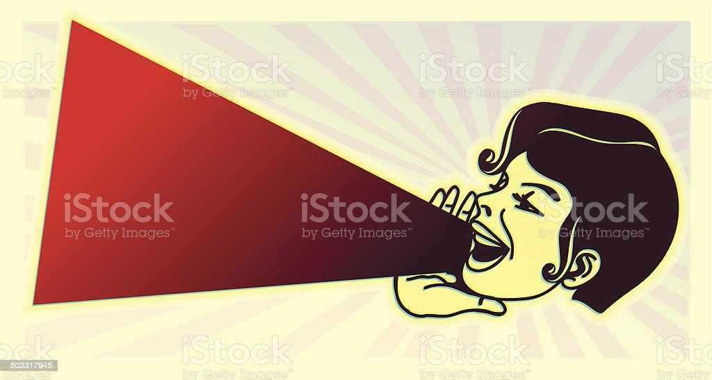 vintage clipart: girl yelling out loud the latest news vector art illustration