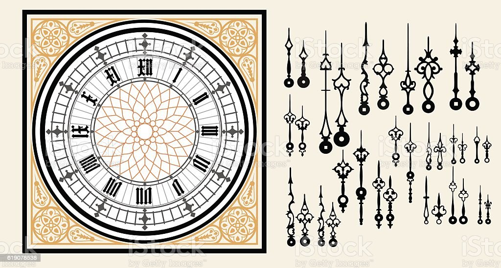 Vintage Clock dial with set hands in the Victorian style vector art illustration