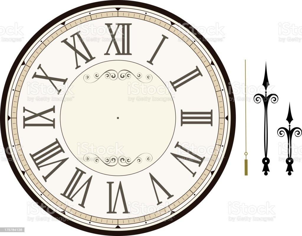 vintage clock face template vector art illustration