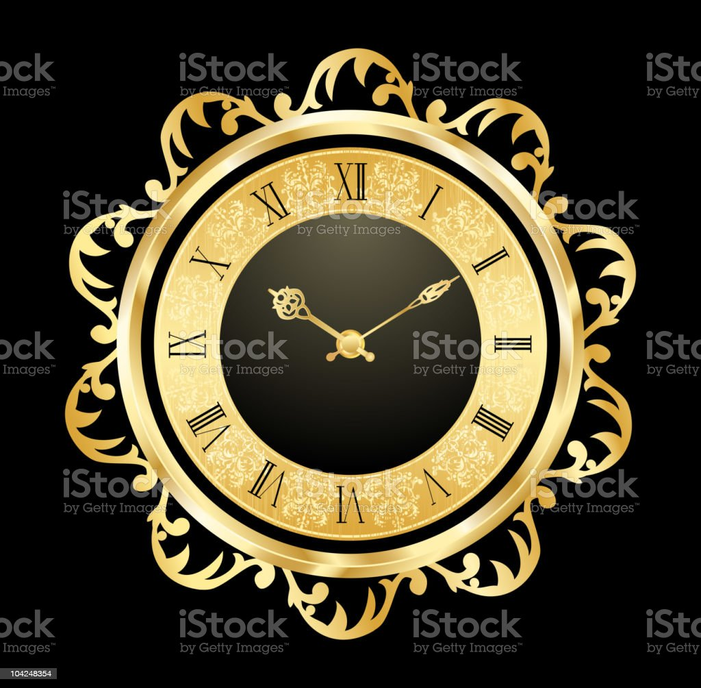 Vintage clock vector art illustration