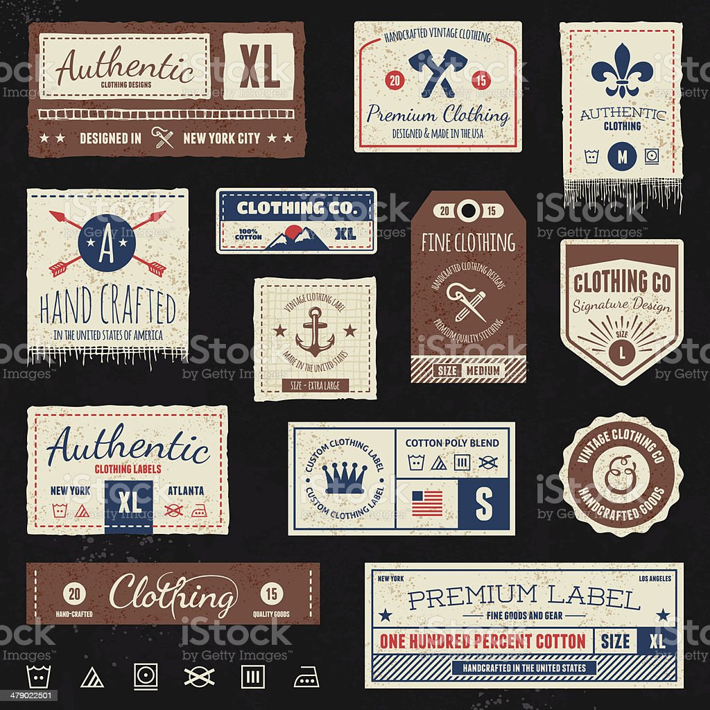 Vintage clothing tags vector art illustration