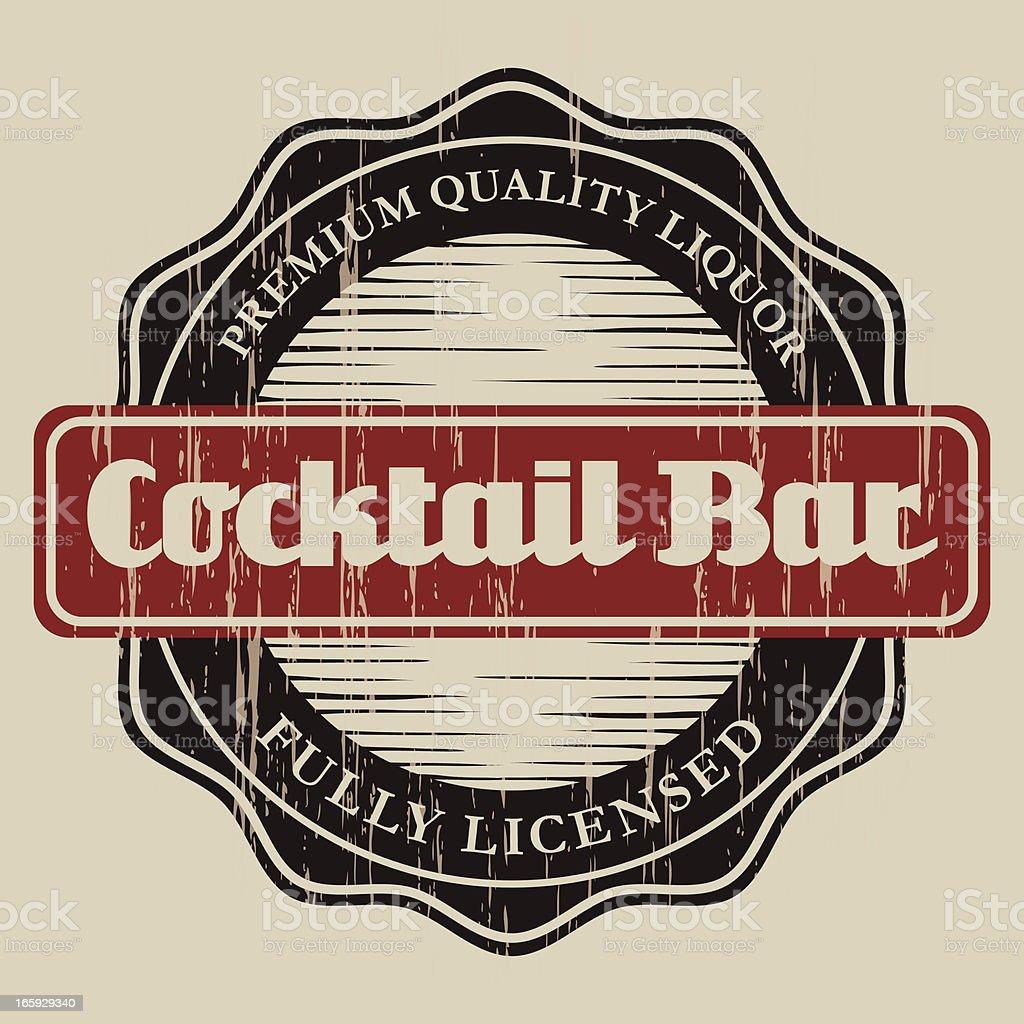 Vintage Cocktail Bar Label vector art illustration