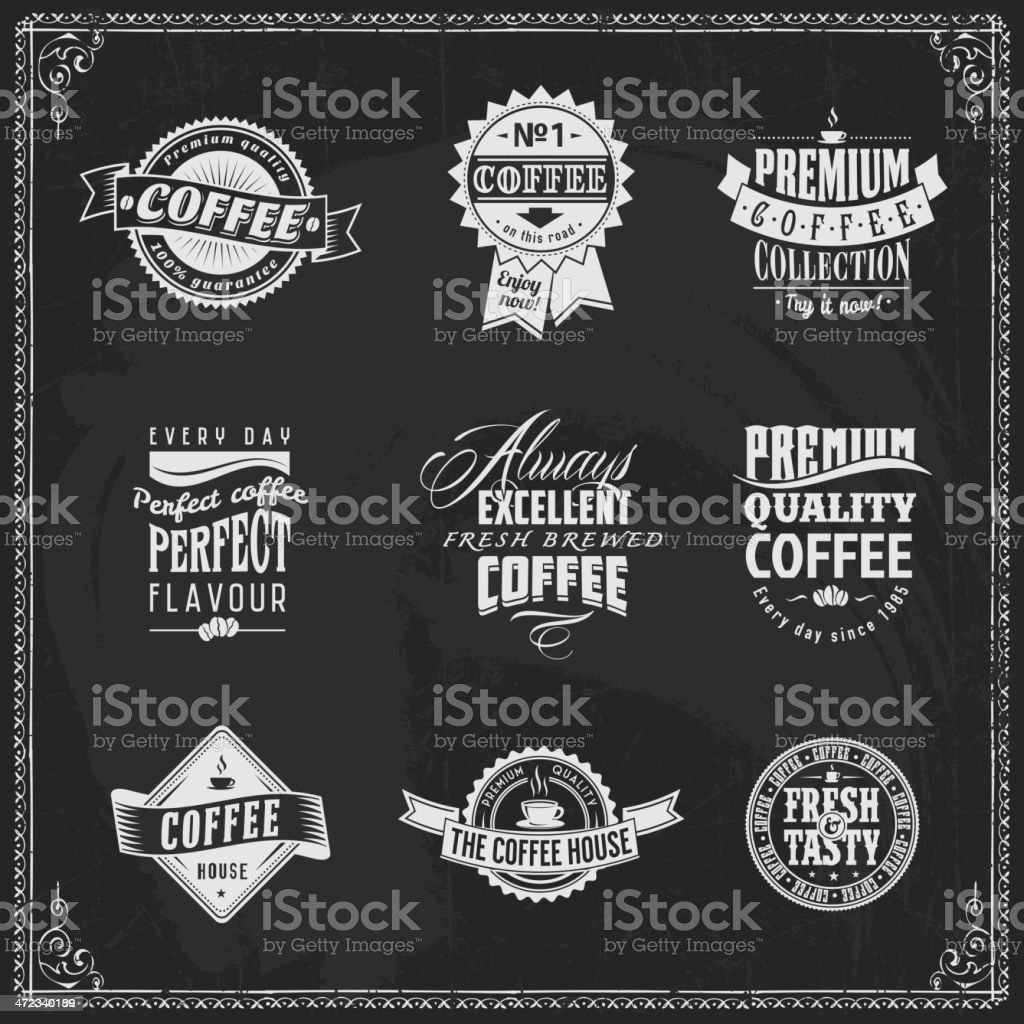 Vintage coffee labels collections - chalk lettering royalty-free stock vector art