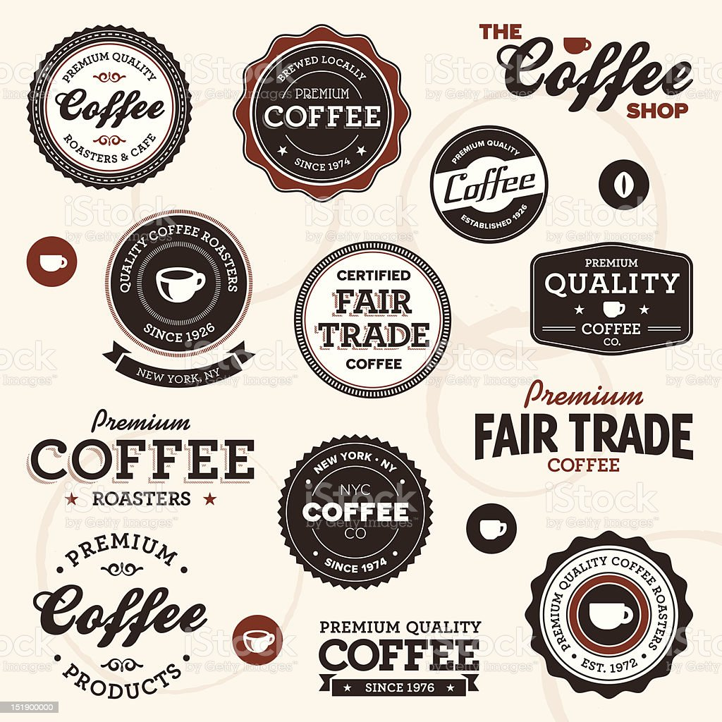 Vintage coffee labels royalty-free stock vector art