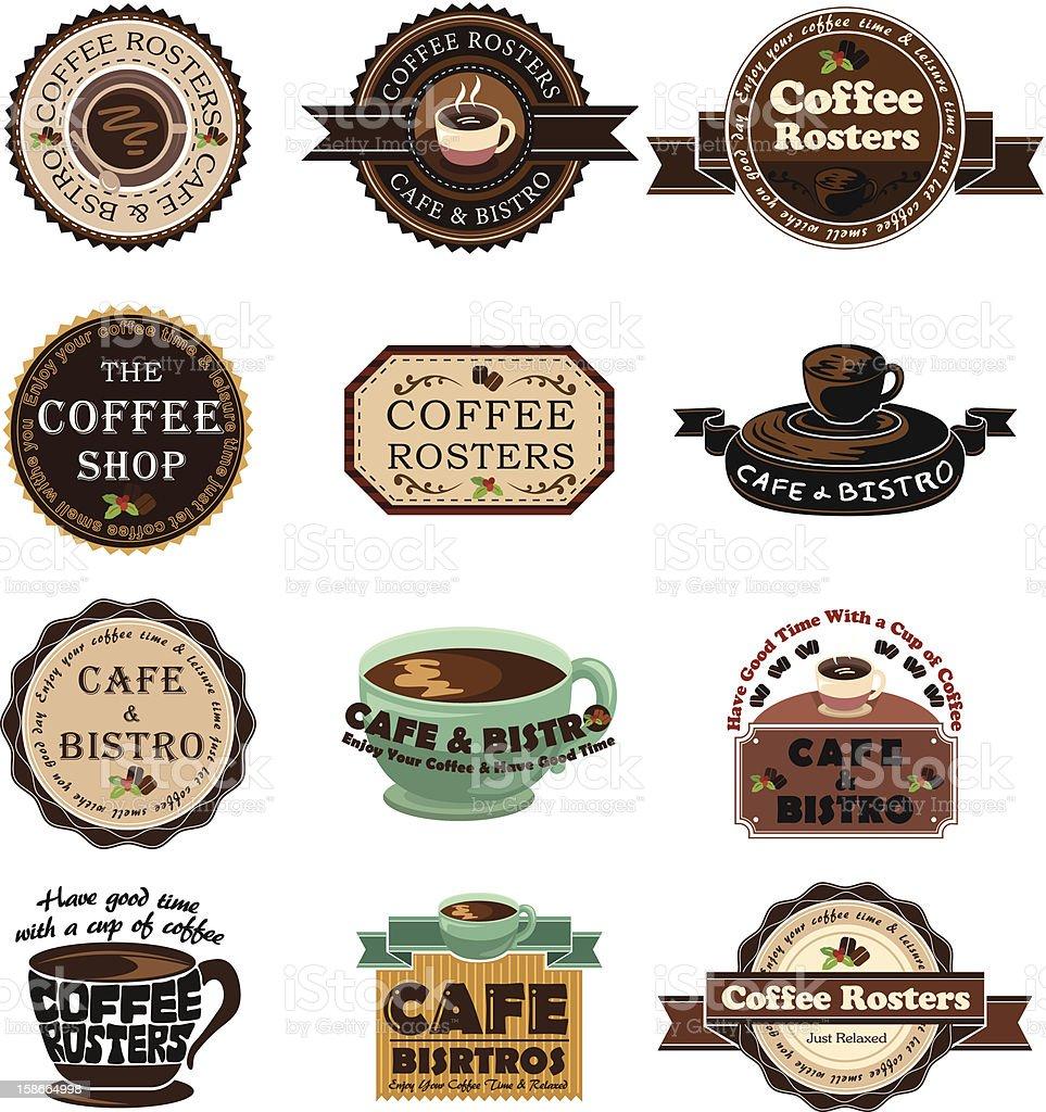 Vintage Coffee Labels vector art illustration