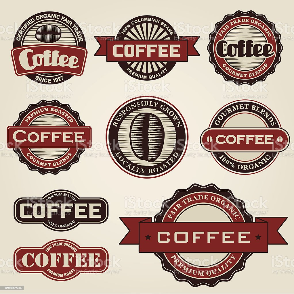 Vintage Coffee Labels vector art illustration