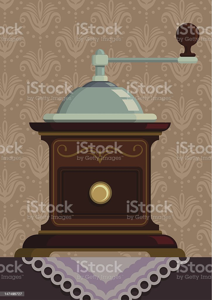 Vintage coffee mill. vector art illustration
