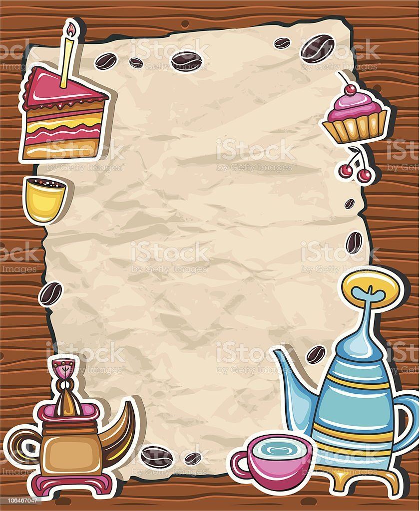 Vintage coffee paper frame royalty-free stock vector art