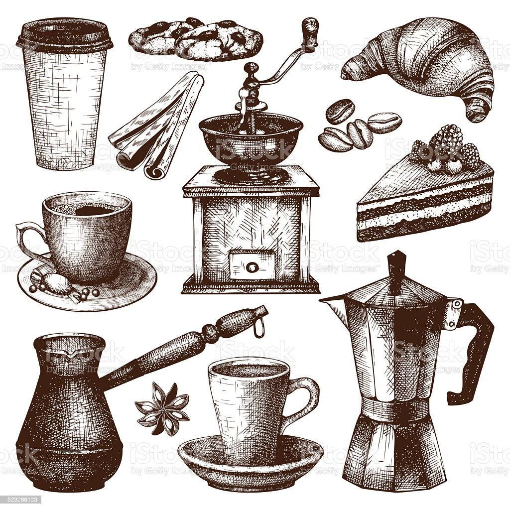 Vintage coffee, pastry and spice illustration vector art illustration