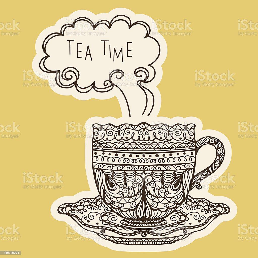 Vintage coffee / tea cup icon - vector vector art illustration