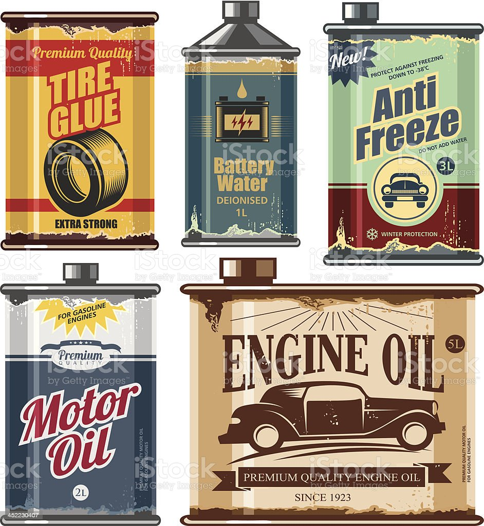 Vintage collection of car and transportation related products vector art illustration