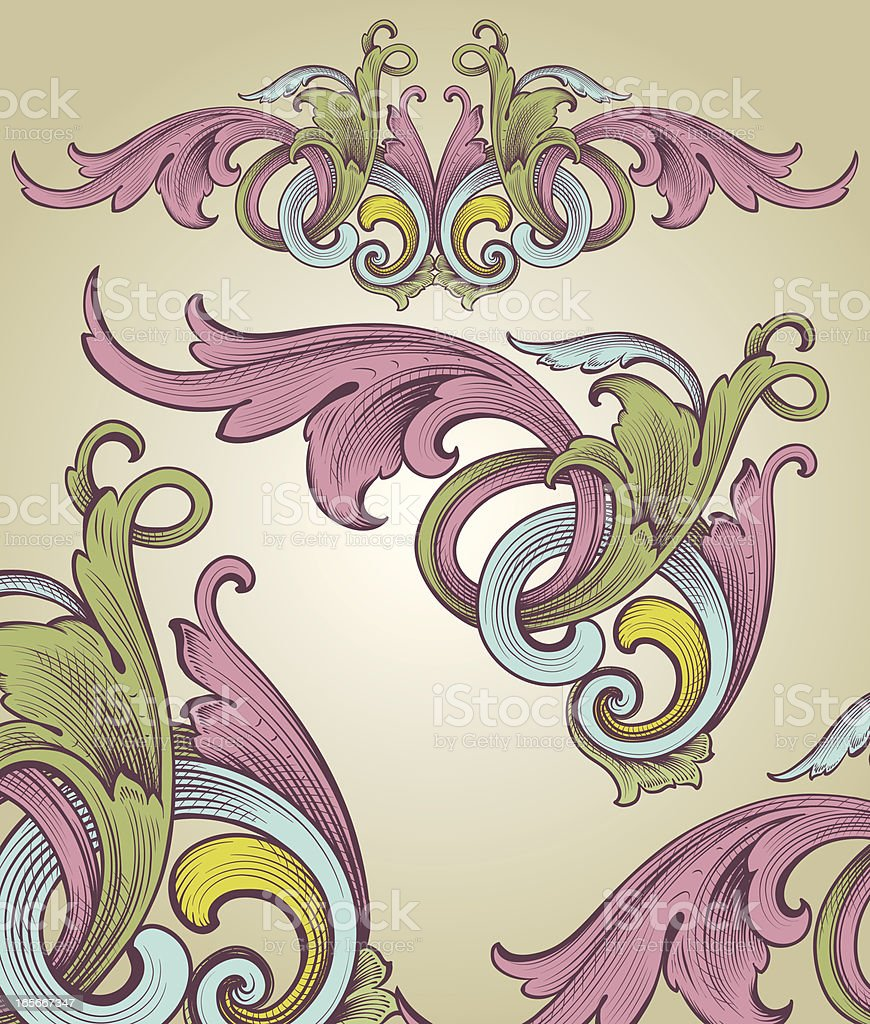 Vintage Color Engraving royalty-free stock vector art