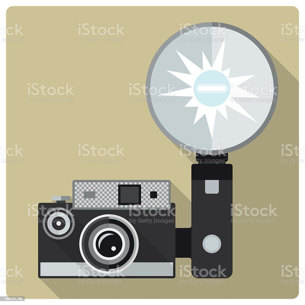 Vintage compact camera with flash vector icon vector art illustration