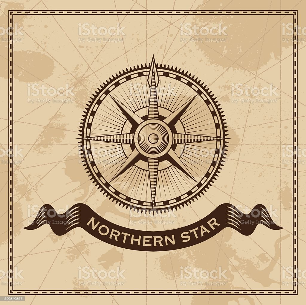 Vintage compass rose - old map vector background vector art illustration