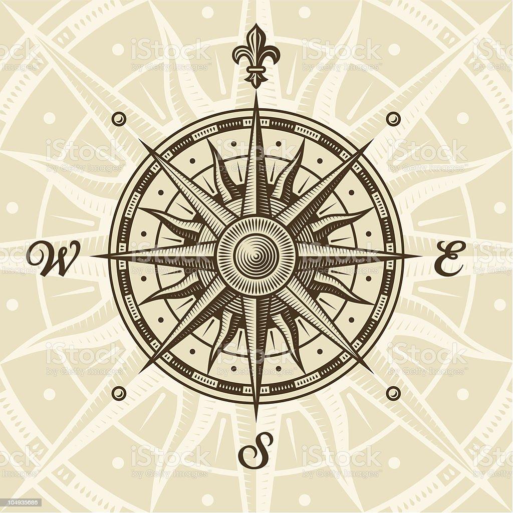 Vintage compass rose vector art illustration
