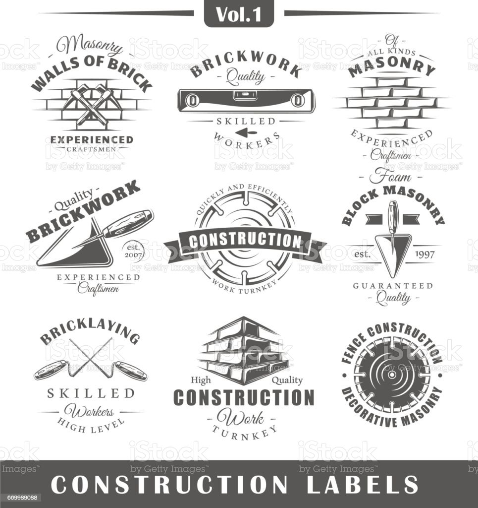Vintage construction labels vector art illustration
