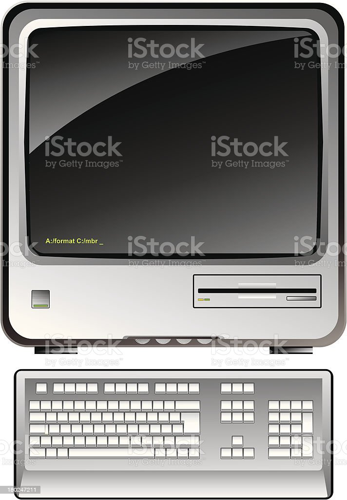 vintage consumer electronics — personal computer with keyboard royalty-free stock vector art