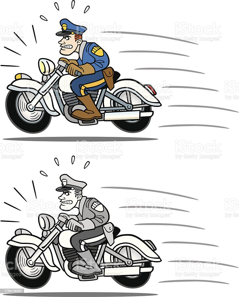 Vintage Cop On Motorcycle royalty-free stock vector art