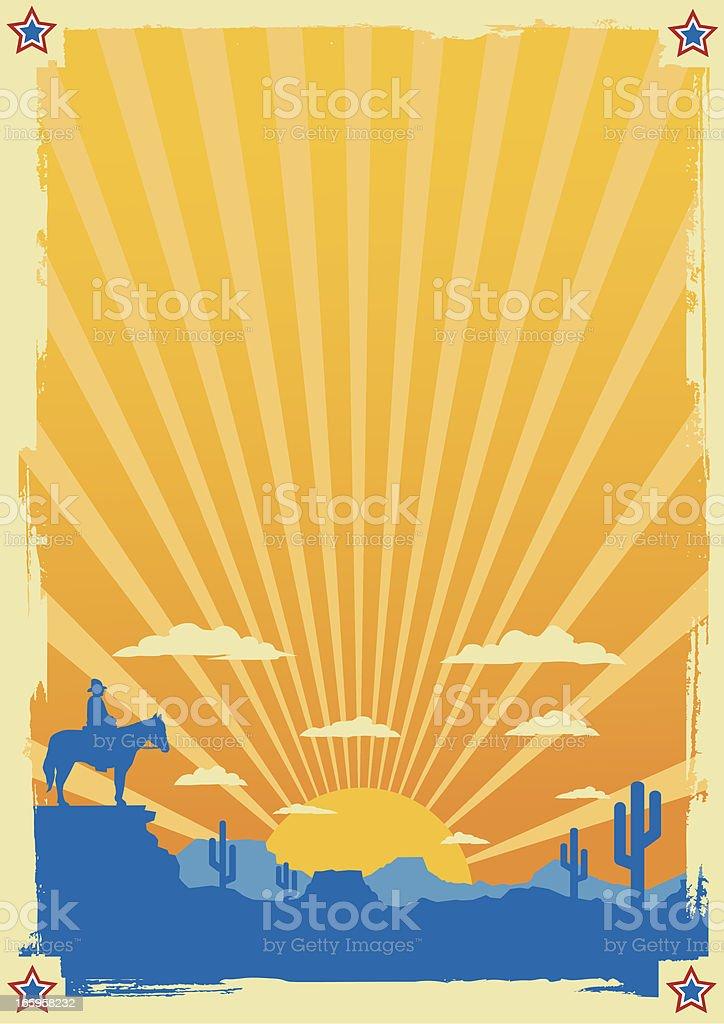 Vintage Cowboy Scene royalty-free stock vector art