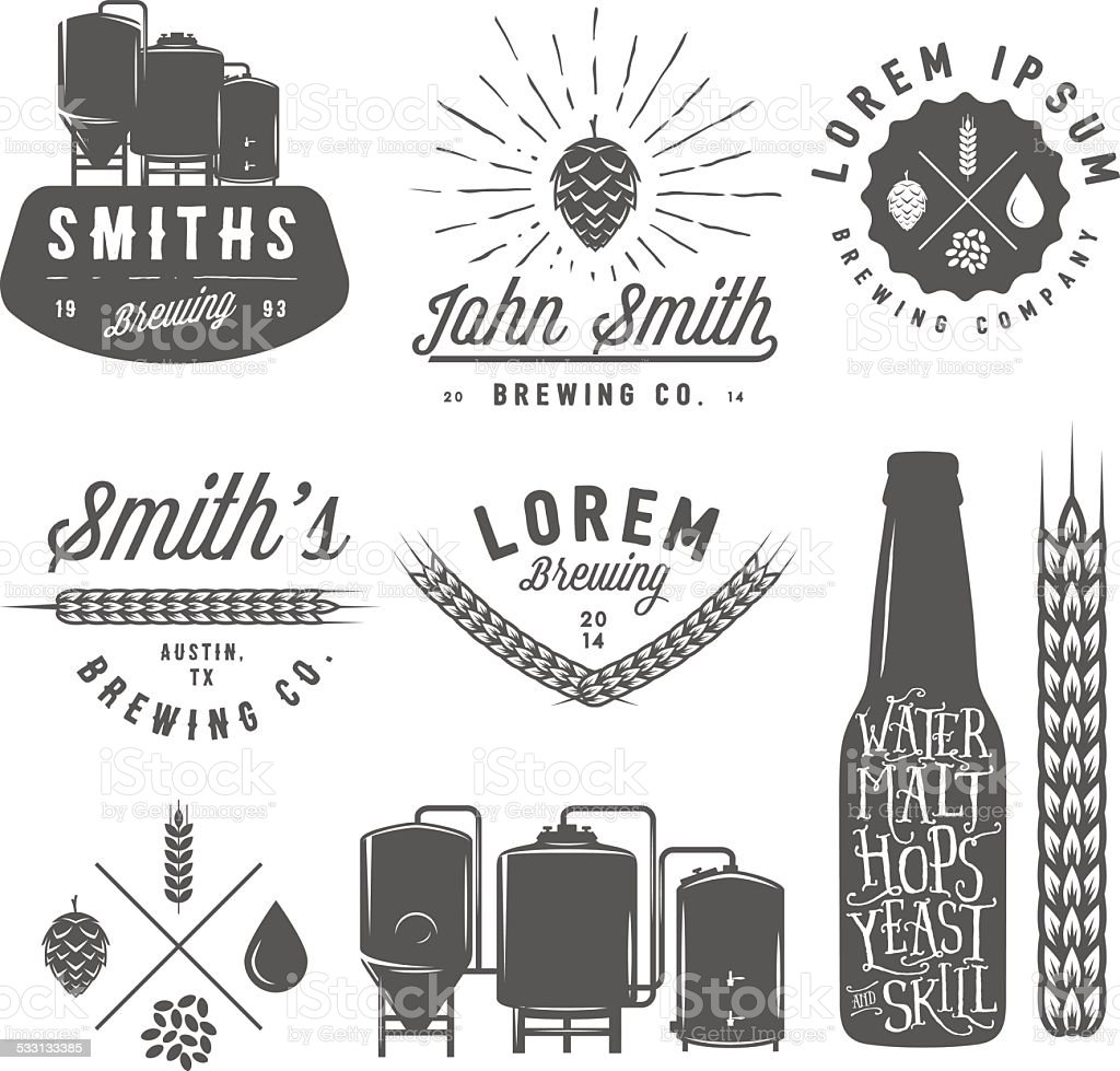 Vintage craft beer brewery emblems, labels and design elements vector art illustration