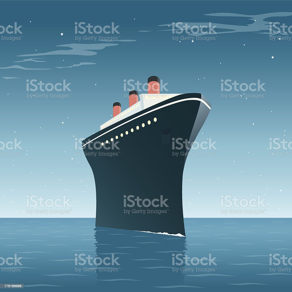 Vintage Cruise Ship Night vector art illustration