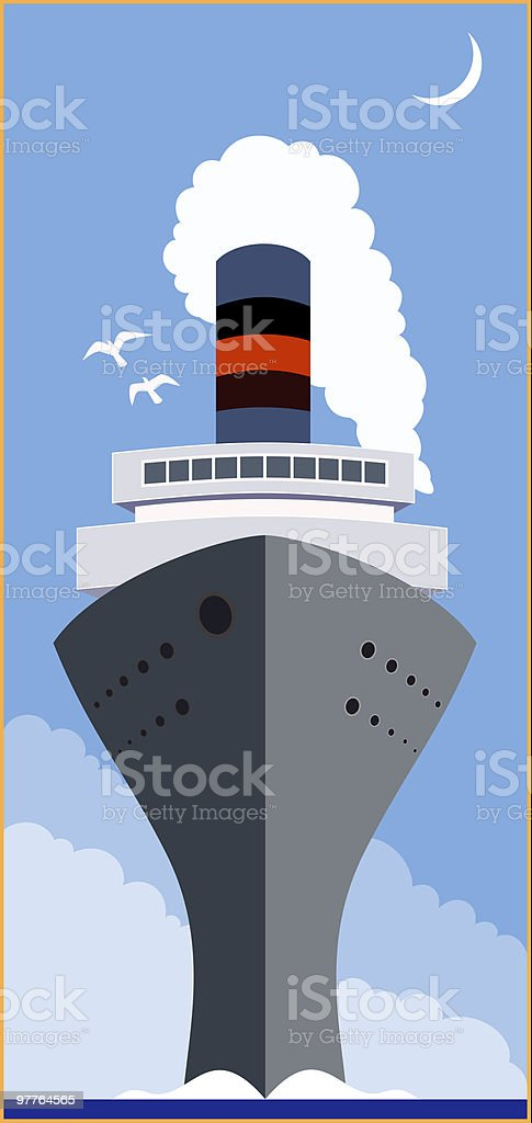 Vintage Cruise ship royalty-free stock vector art