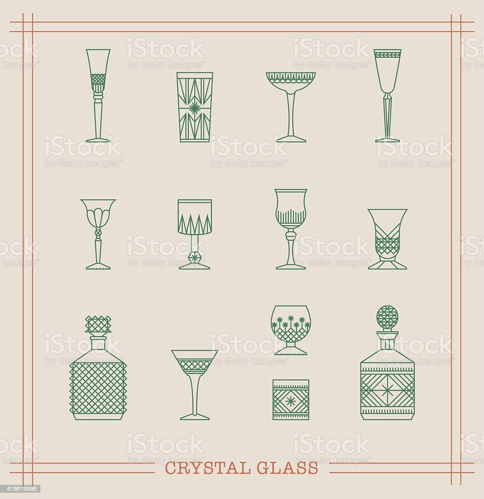Vintage crystal glass vector art illustration