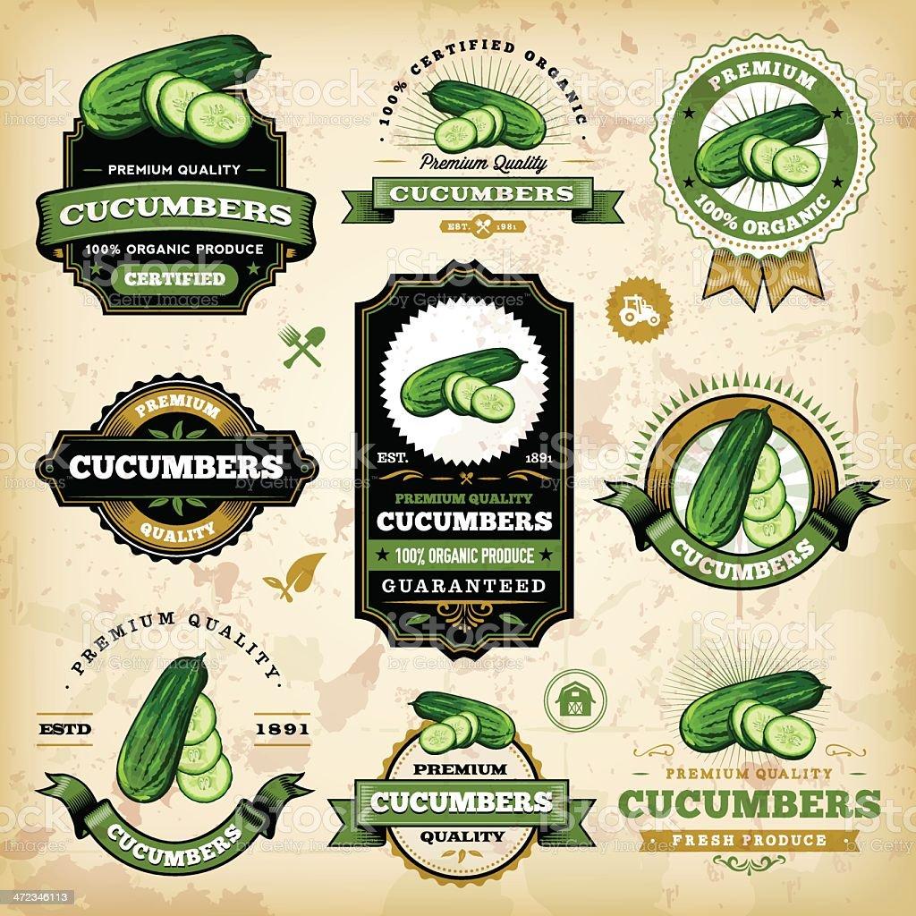 Vintage Cucumber Labels vector art illustration