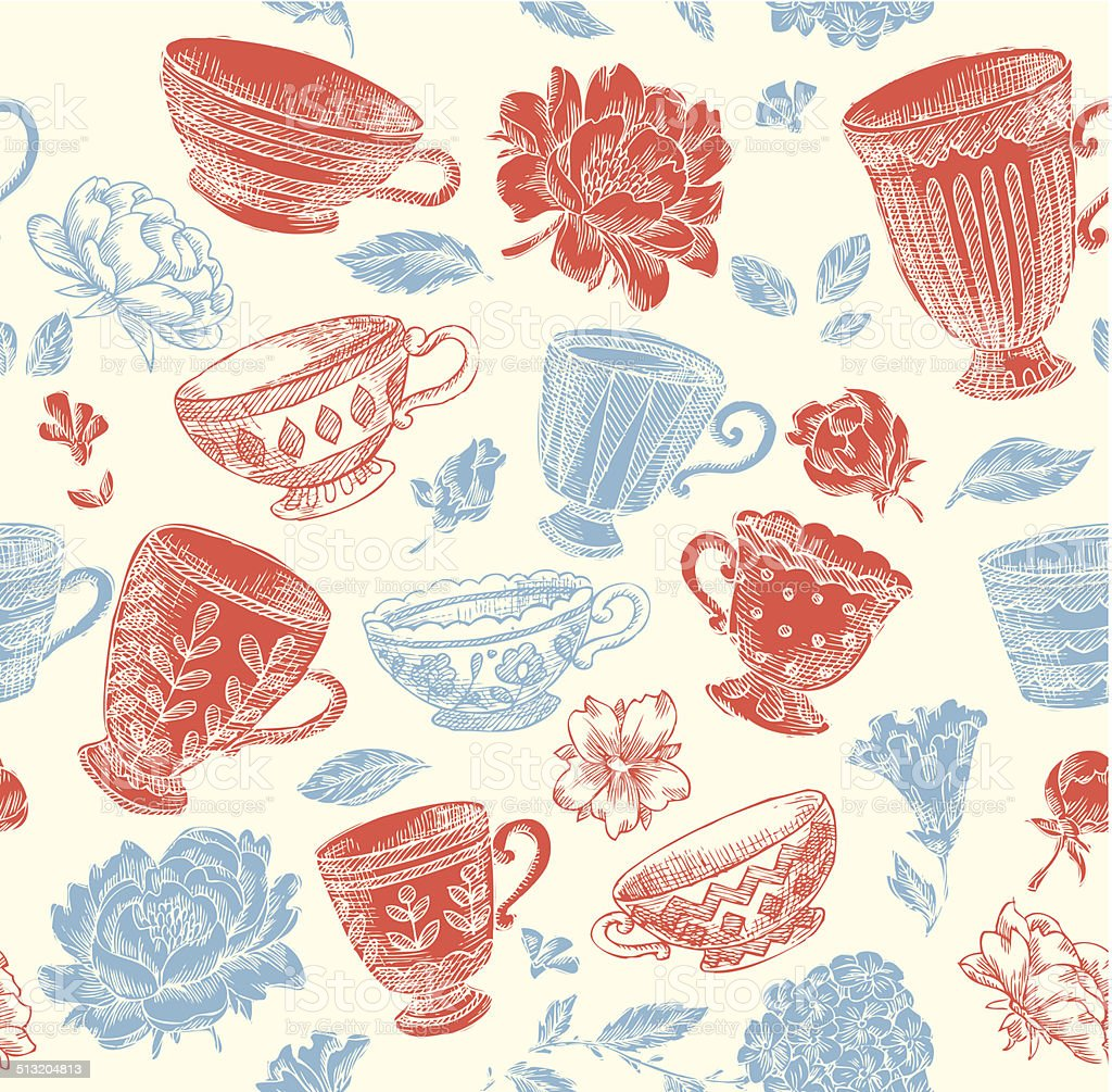 Vintage Cup Seamless Pattern vector art illustration