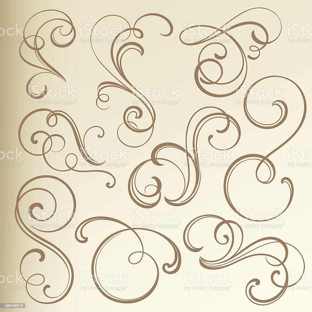 Vintage Curled Vignettes vector art illustration