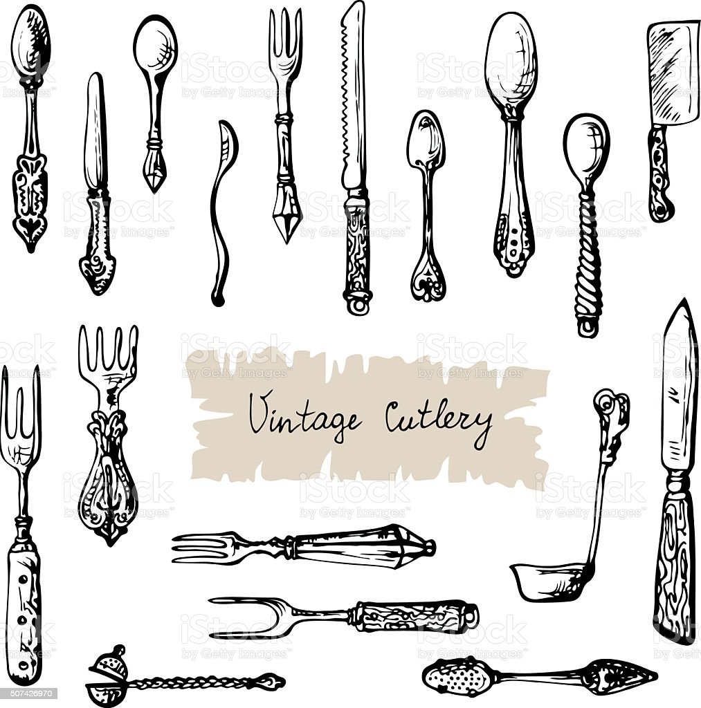 Vintage Cutlery vector art illustration