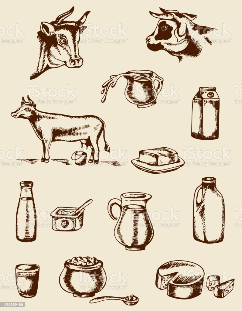 Vintage dairy products and cow vector art illustration