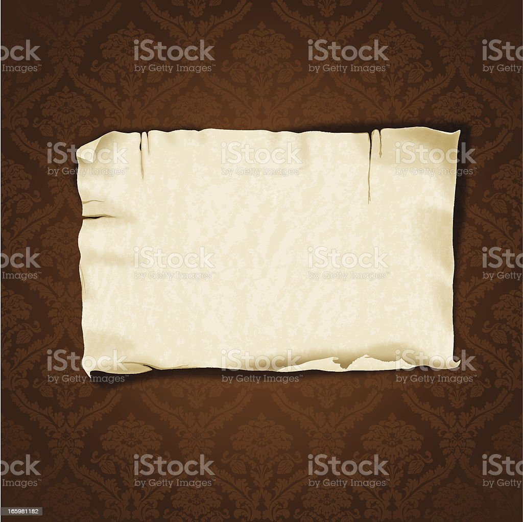 Vintage Damask Background With Realistic Banner vector art illustration