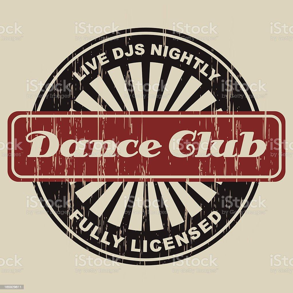 Vintage Dance Club Label vector art illustration