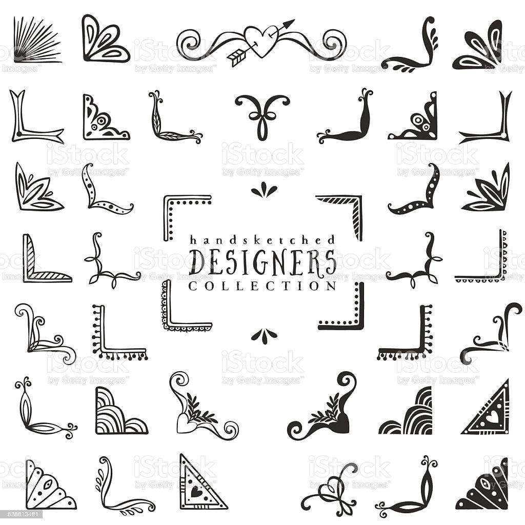Vintage decorative corners collection. vector art illustration