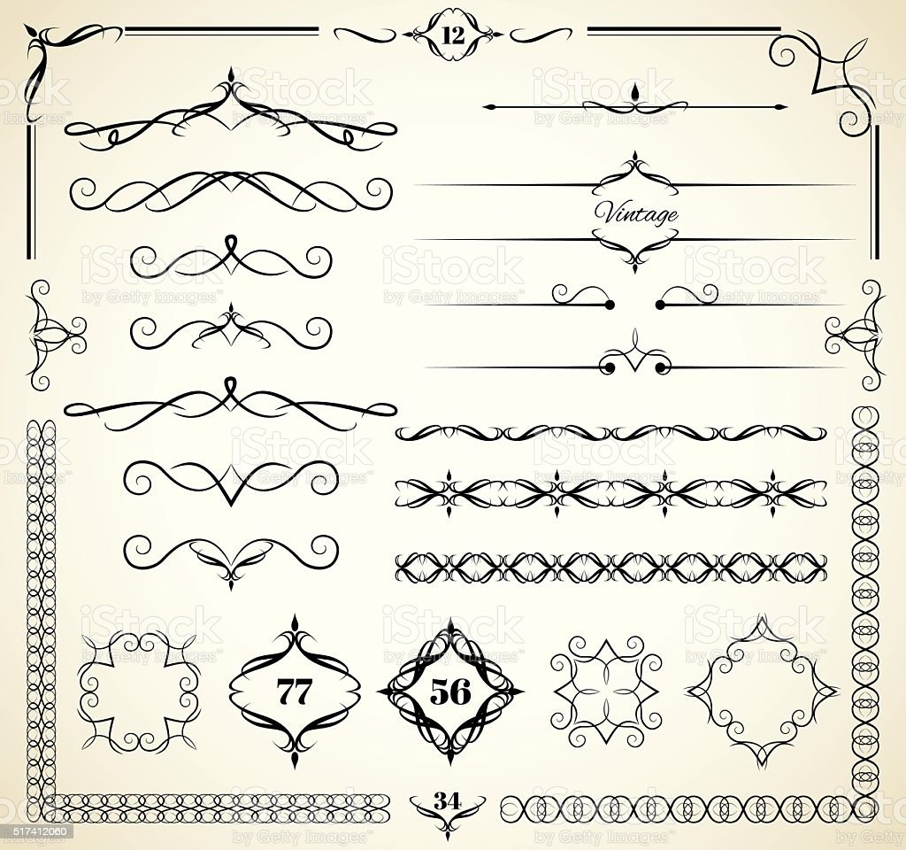 Vintage decorative elements vector art illustration