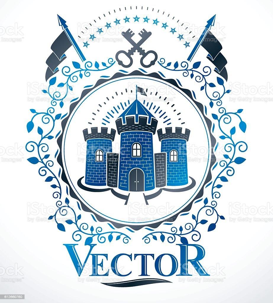 Vintage decorative emblem composition, heraldic vector. vector art illustration