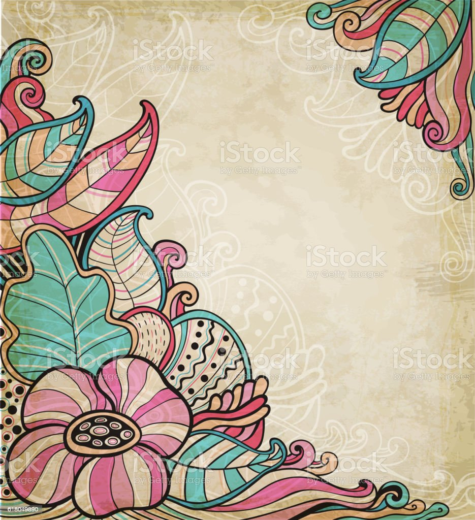Vintage decorative floral background vector art illustration