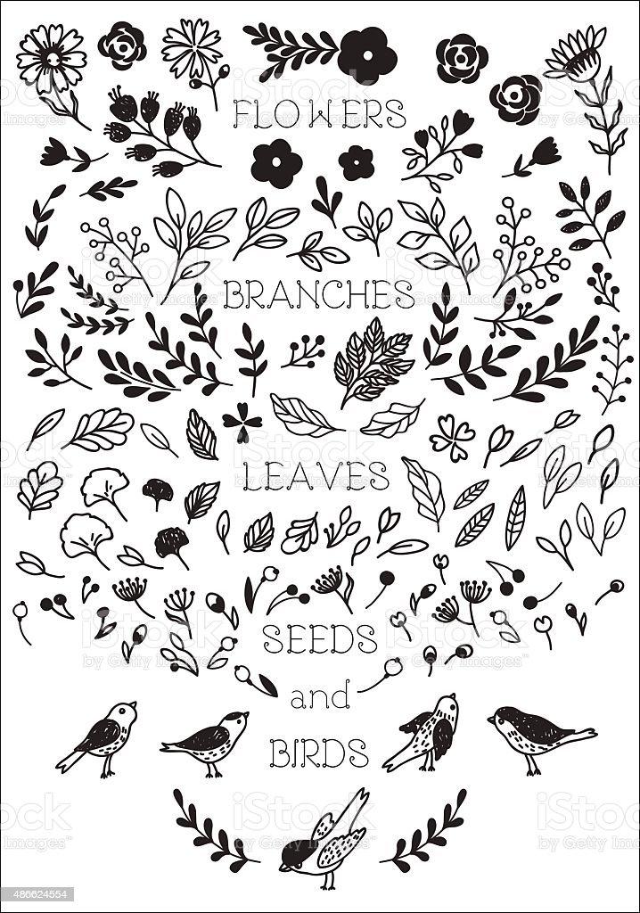 Vintage decorative flowers and birds set vector art illustration