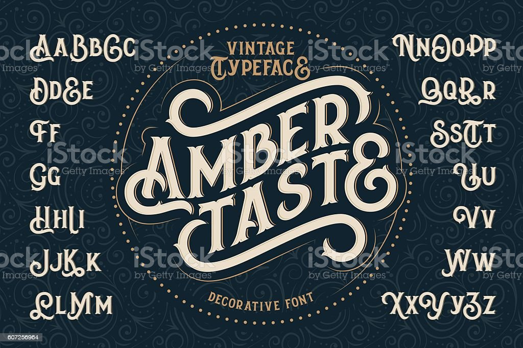 Vintage decorative font named 'Amber Taste' vector art illustration