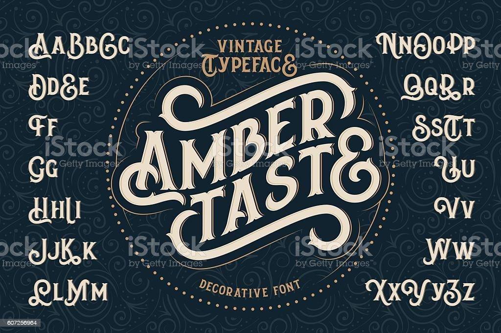 Vintage decorative font named 'Amber Taste' vector art illustration