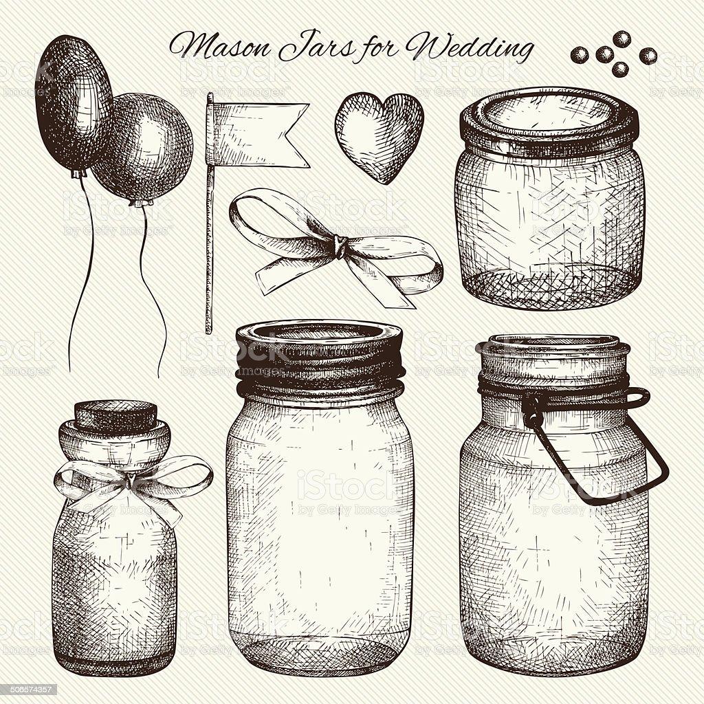 Vintage decorative glass canning jars and wedding design elements vector art illustration