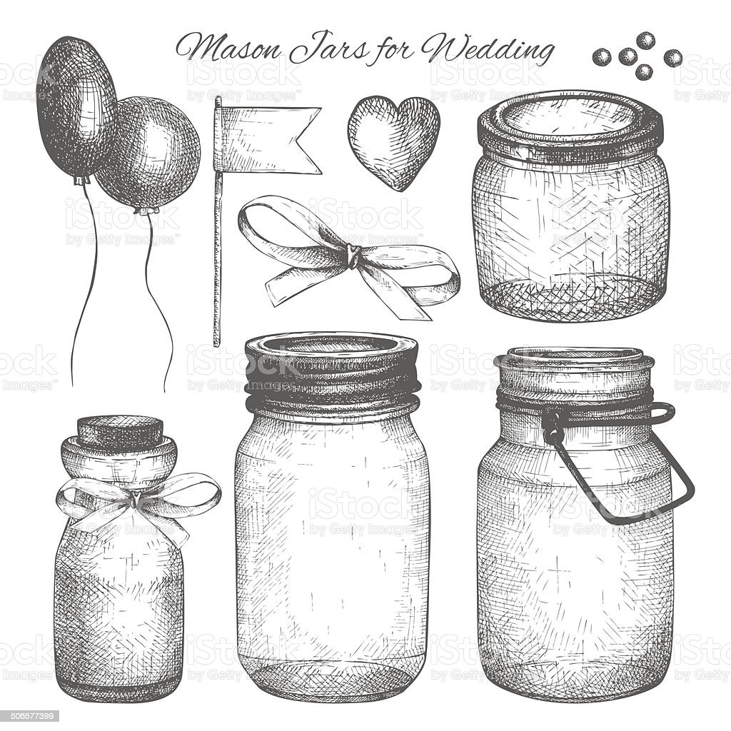 Vintage decorative glass canning jars and wedding design elements vector art illustration