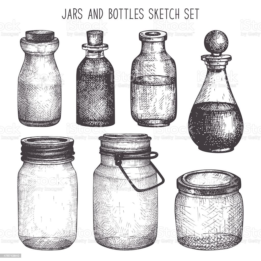 Vintage decorative glass canning jars isolated on white. vector art illustration